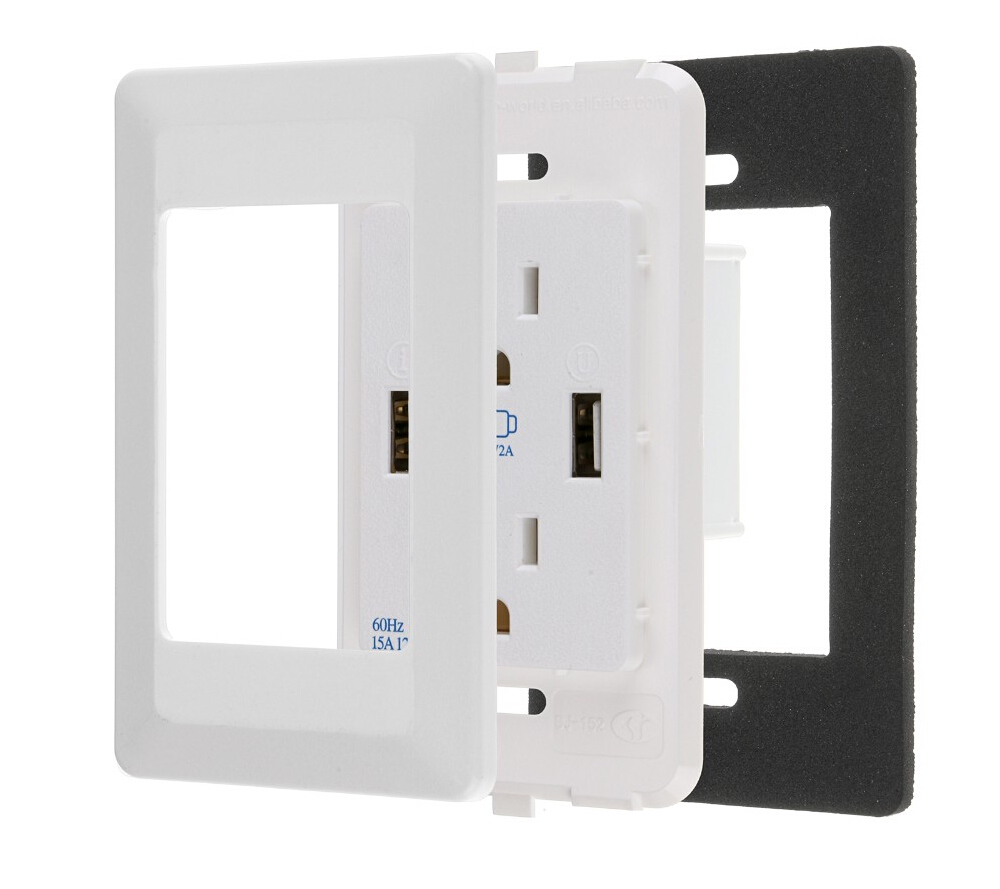 For US PLUG! Dual USB Port Wall socket Electric Charger Station ...