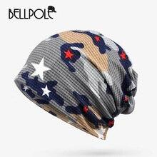 Новое Прибытие Мужская Печати Hat Cap Gorro Шляпы Женщины Мужчины Летние Дышащие Трикотажные Hattouca Inverno Gorros Кости Двойной Шарф