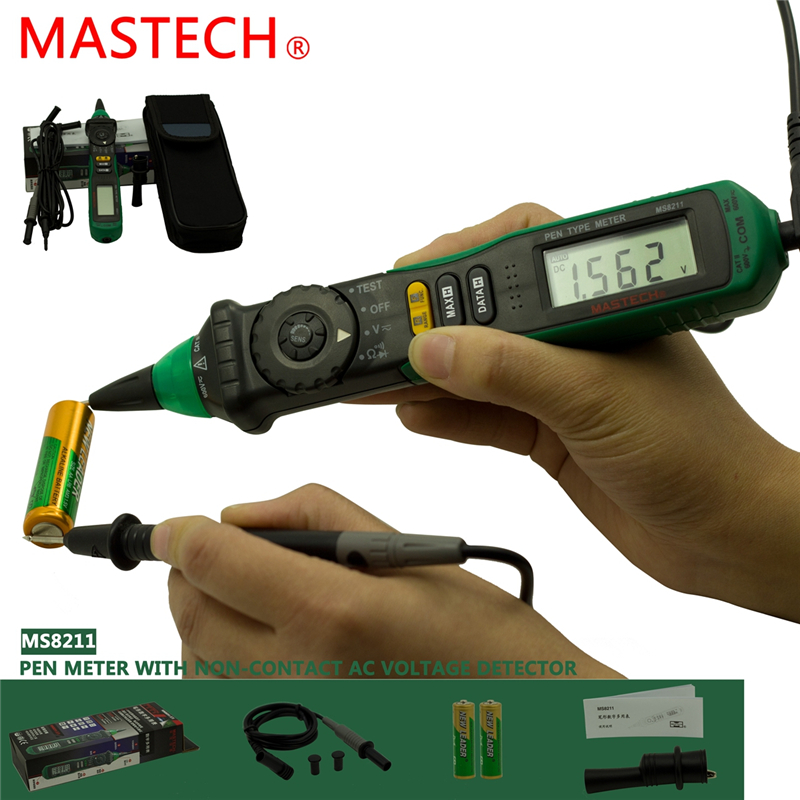 MASTECH MS8211 Pen-type Digital Multimeter with NCV Detector Non-contact DC/AC Voltage Current Meter Data Hold Multimetro mastech ms8211 pen type digital multimeter with ncv tester non contact ac 600v voltage detector ohm multi tester with 2 7v diode