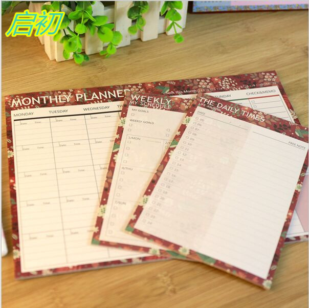 Daily Weekly Monthly Flower Bird Organiser Planner Desk