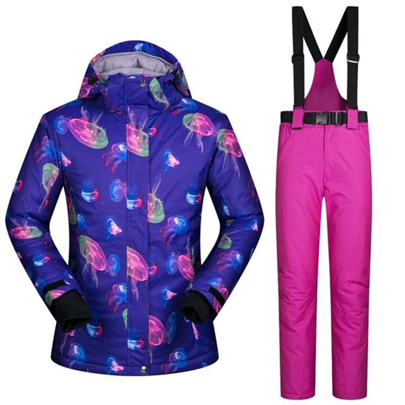 Livraison directe Sportwear Femme Combinaison de Ski Imperméable Femmes D'hiver vêtements de Ski Haut Veste À Capuche pantalon à sangle neige veste et pantalon