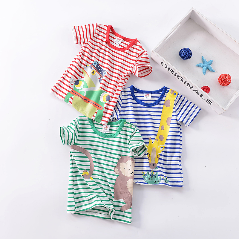 New summer cotton Mini striped cartoon print T-shirt for boys and girls, fashion girls in 2018