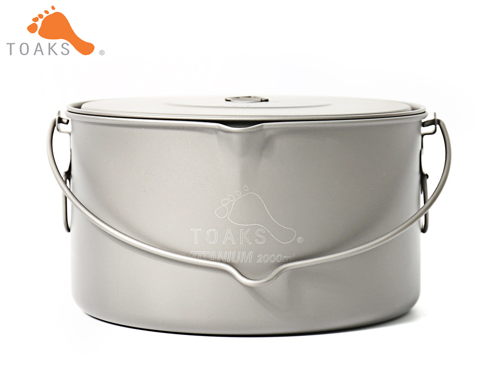 TOAKS POT-2000-BH Titanium Outdoor Camping Hanging Pot With Bail Handle Easy to Carry Can be Used by 1 to 3 People 2000ml 258g toaks pot 1350 ultralight titanium 1350ml pot with bail handle outdoor camping tableware