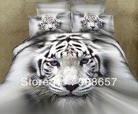 500TC grau weiß tiger tier gedruckt bettwäschesatz 3D öl malerei tröster bettbezug voller königin größen jungen bettwäsche 4/5 pcs
