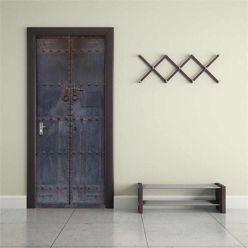 Image 4 - Старые эффекты железная дверь спальня самоклеющиеся 3D наклейки на стену 38,5x200 см дверь Гостиная Декор наклейки украшение дома-in Настенные наклейки from Дом и животные