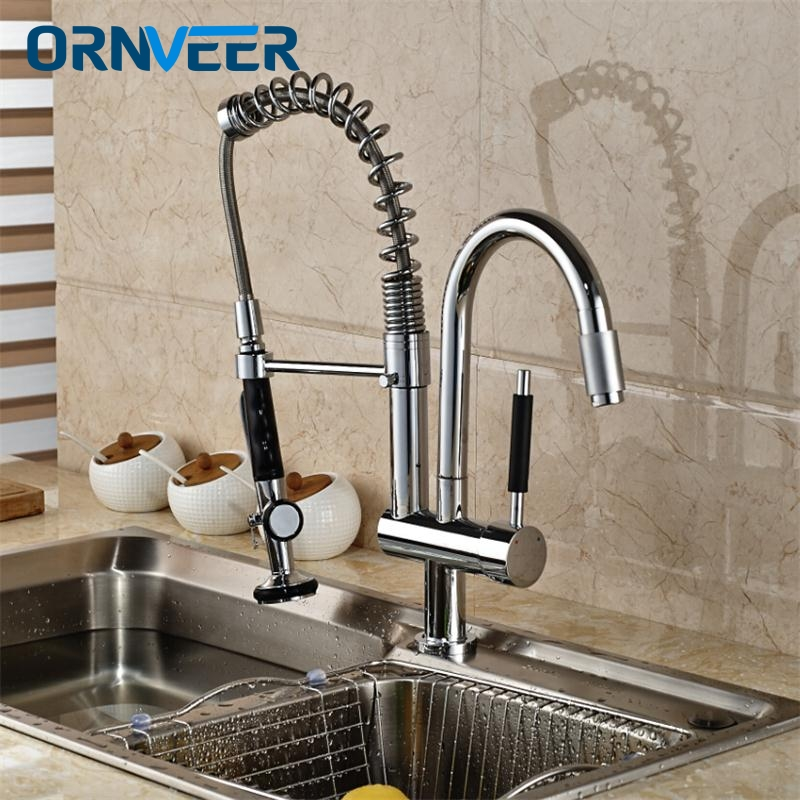 SAMOEL/High Quality Chrome Deck Mount Spring Kitchen Faucet Swivel Spout Single Handle Pull out Spray Sink Mixer Tap good quality wholesale and retail chrome finished pull out spring kitchen faucet swivel spout vessel sink mixer tap lk 9907