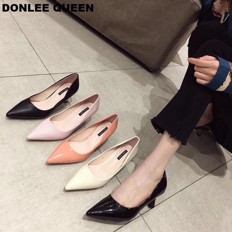 DONLEE QUEEN Patent Leather Women Pumps Fashion Office Shoes Pointed Toe Sexy High Heels Womens Wedding Party