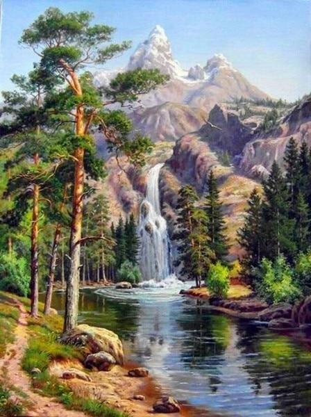 Couture, paysage cascade de montagne à faire bricolage même, point de croix 14ct, pour kit de broderie, ensemble de point de croix artistique, décor fait à la main