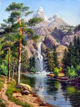 Needlework,Mountain waterfall beauty Scenery DIY 14CT Cross stitch,for Embroidery kit,Art Cross Stitching Set handmade decor