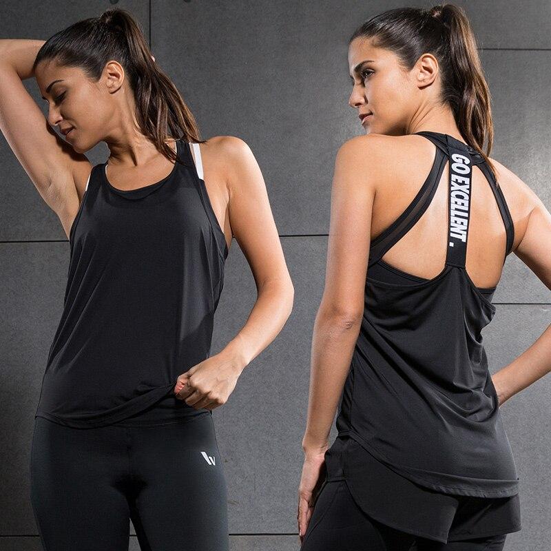 Prix pour Nouveau Yoga Tops femmes Sexy Gym Sports Gilet Fitness Course serré femme Sans Manches chemise À Séchage Rapide Fit Débardeur Vêtements De Yoga vêtements