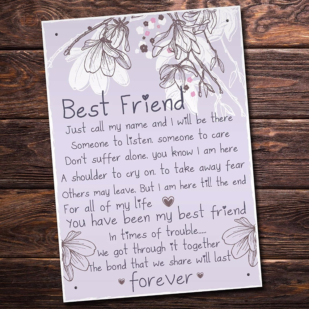 meijiafei friendship gift best friend plaque sign thank you birthday