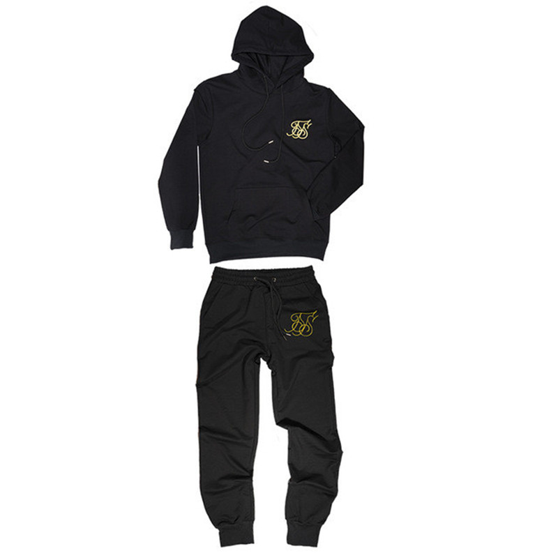 Fashion New Gym Sportswear Men's Pants Suit Sweatshirt Sportswear Brand Sik Silk Embroidery Casual Fitness Clothing Jogging Suit