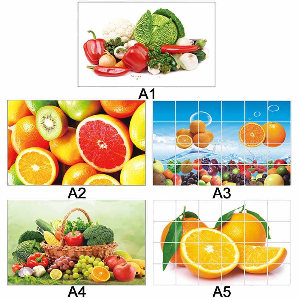 60 90cm Waterproof Anti oil Stain Aluminum Foil Sticker Kitchen Cabinet Sticker Fruit Vegetable Pattern Wall Paper Home Decor in Wall Stickers from Home Garden