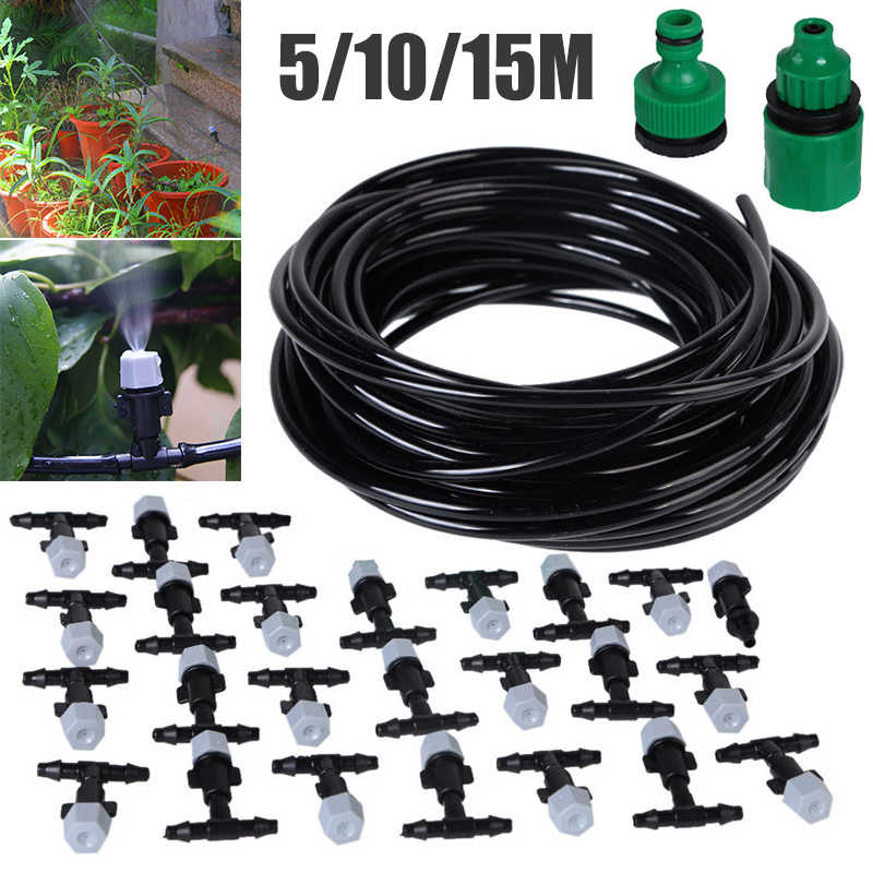 Portable 10m/15m Water Misting Cooling System Sprinkler Set With 20/25 Mist Sprinkler Nozzle for Outdoor Garden Patio