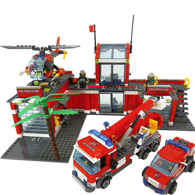 New bricks KAZI Fire Fight Series City Fire Station Truck Helicopter Firefighter Mini playmobil Building  DECOOLToys lepin kazi fire department station fire truck helicopter building blocks toy bricks model brinquedos toys for kids 6 ages 774pcs 8051