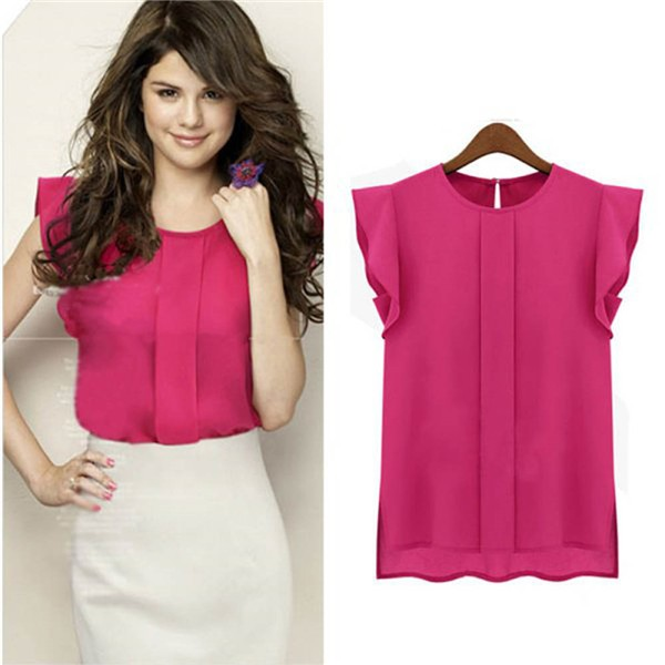 HTB1HDeGSVXXXXcyXFXXq6xXFXXX4 - New Women Chiffon Clothing Lady Shirt Ruffle Short Sleeve
