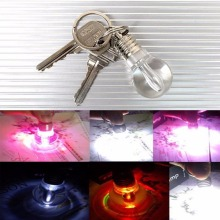 Outdoor EDC tool Self Defense personal Supplies flashing light alarm New Creative Protection Clear Lamp Bulb Keychain Silver FC