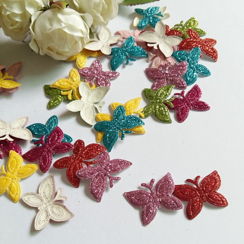 200pcs Colored Glitter patches butterfly for clothes Sewing Supplies diy supplies DIY for Craft Decoration in Patches from Home Garden