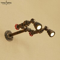 Retro Iron Water Pipe Wall Lamp Vintage Spot Light LED RH American Industrial Wall Sconce Bedroom Living Room Bathroom Path Cafe