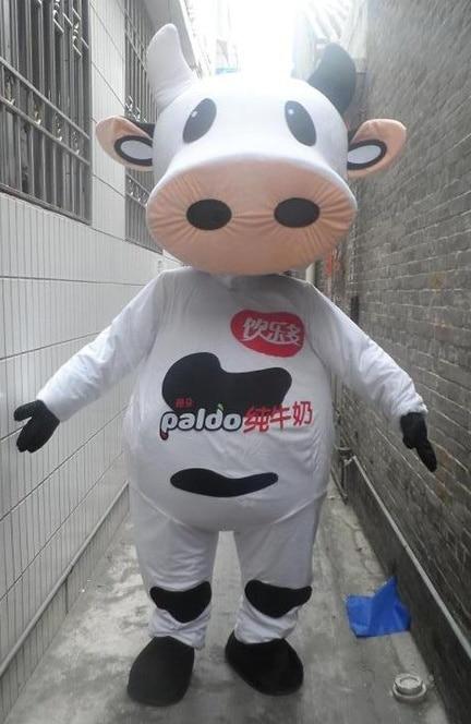 Offre spéciale dessin animé adulte beau tissu jaune vache blanche mascotte costume déguisements costumes costumes de fête
