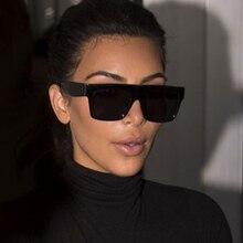 Fashion Vintage Brand Designer Lady Big Square Sunglasses Women Kim Kardashian R