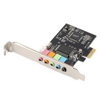 新しいpci express x1 pci-e 5.1ch cmi8738チップセットオーディオデジタルサウンドカード新しい卸売固体コンデンサpcieサウンドカード5.1