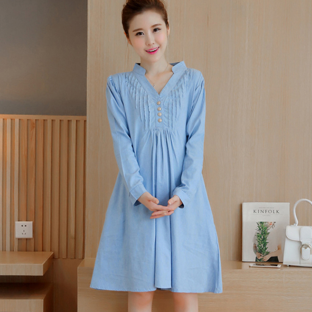 2017 Korean Maternity Dresses Clothing Big Size V Neck Dresses For ...