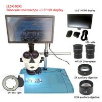 New 3.5 90X trinocular stereo microscope +11.6 inch HDMI digital industrial microscope camera display +0.5X2X lens, repair tools