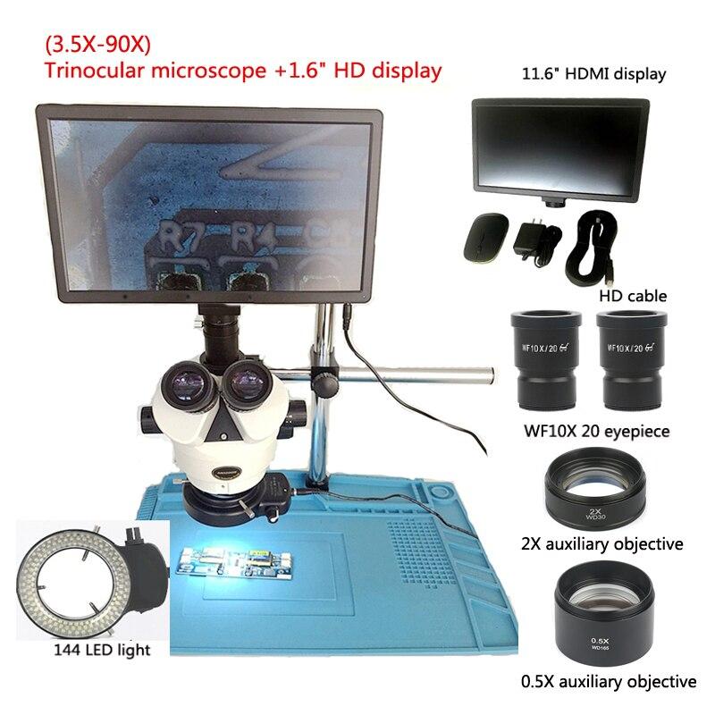 Novo 3.5-90X industrial microscópio trinocular microscópio estéreo + 11.6 polegada HDMI digital visor da câmera + lente 0.5X2X, ferramentas de reparo