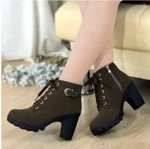 2018nuevo invierno casual mujeres bombas calientes Botas de tobillo impermeables tacones altos mujeres Botas de nieve zapatos mujeres Botas más EUR35-41