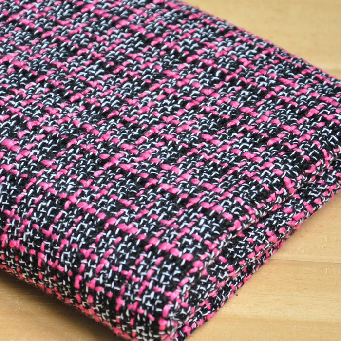 free ship wool tweed fabric warm color pink and black color weaved for choice price for 1/2 yard 55