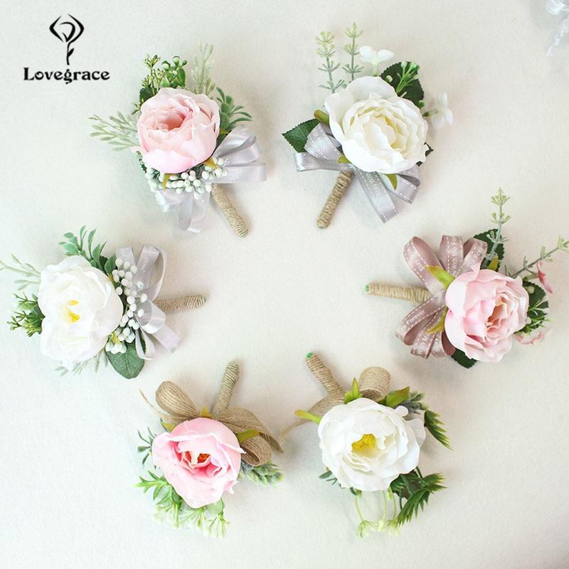 white Pink roses wedding  wrist corsage bracelet bridesmaid Boutonniere flowers (107)