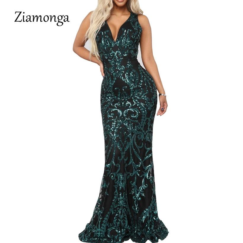 Ziamonga V Neck Mermaid Long Dresses Female Sequined Floor Length Maxi Dress Party Elegant Black Green Gold 2019 Summer Vestidos