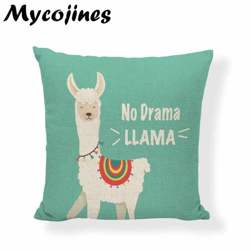 Cartoon Cute Alpaca Cushion Covers 45cm Single-sided Printing Pillowcover Child Room Bed Living Room Sofa Decoration Pillowcase