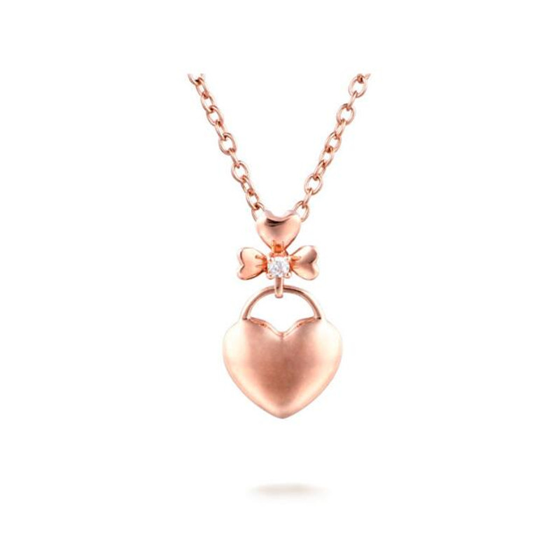 Fashion Cute Bowknot Crystal Heart Pendant Women Chain Necklace Accessories Bow Series 18K Gold Necklaces & Pendants недорго, оригинальная цена