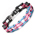 Punk Motorcycle Chain Bracelet Femme Motorbike Link Bracelets Bangle For Women Female Rhinestone Crystal Stainless Steel Jewelry