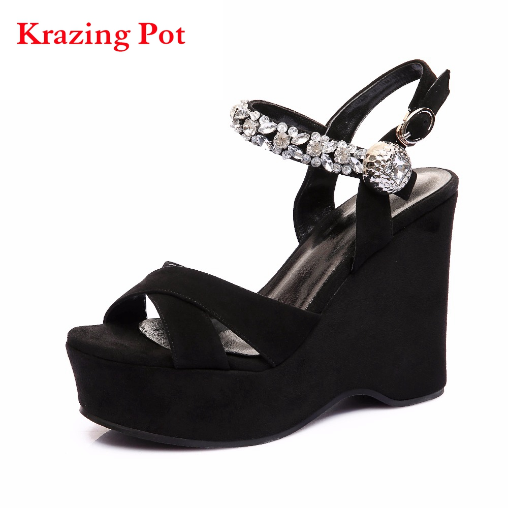 Genuine Leather Slingback Ankle Strap Platform Peep Toe Women Sandals Runway Crystal Super High Heel Classic Party Shoes L01  2017 superstar cow leather platform european ankle strap peep toe print mixed colors classic women increased runway sandals 0 4