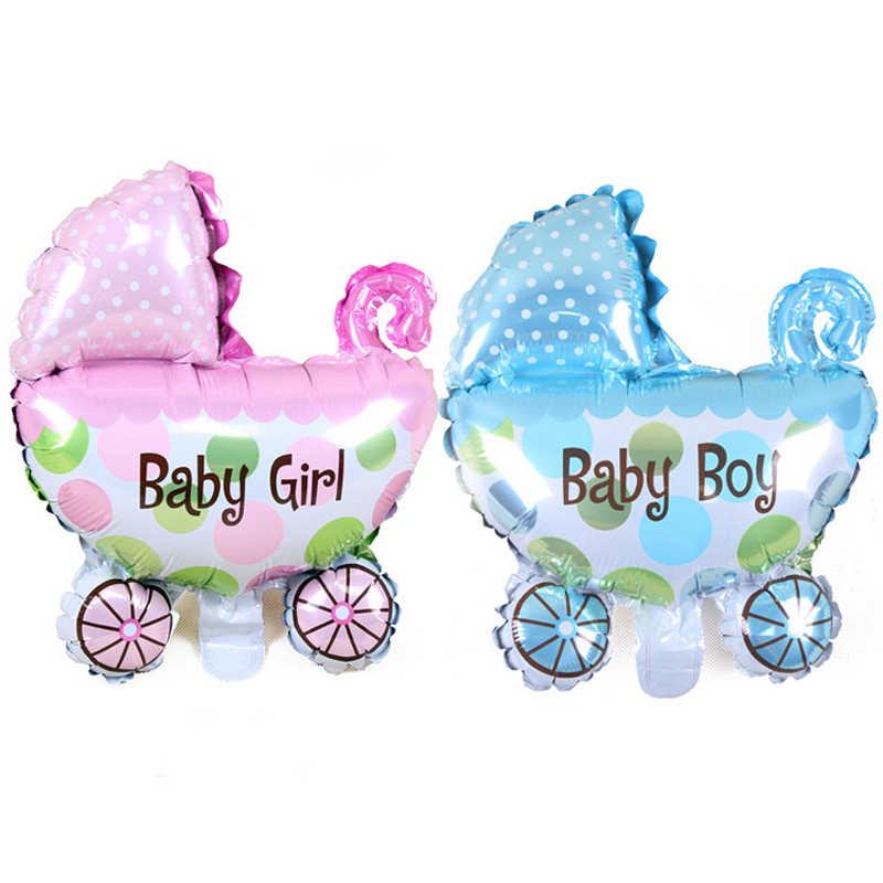 Globos de papel de aluminio de helio para bebés y niñas, globos de cochecito de bebé, juguetes de bebé para decoración de fiesta de recién nacido, globos de aire