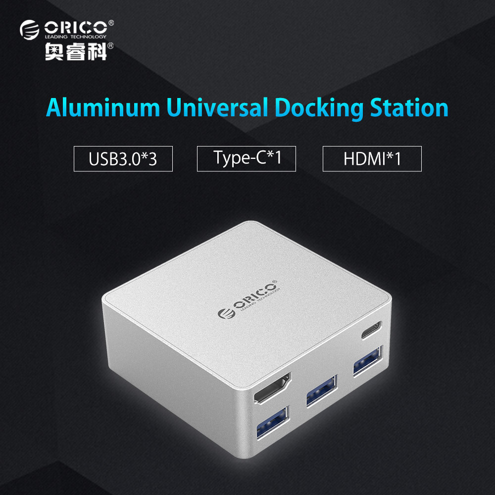 ORICO Aluminum Laptop Docking Stations TYPE-C to TYPE-C HDMI Converter for New Macbook Laptop Desktop PC with 3 USB3.0 HUB orico aluminum cylinder type c universal docking station eu plug power adapter with 6 usb3 0 a