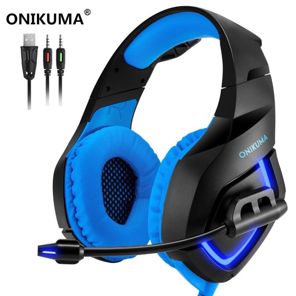 ONIKUMA K1-B Gaming Headset Surround Suono Profondo Bass Cuffie con Il Mic HA CONDOTTO Le Luci per PS4 Xbox One Del Computer Del Telefono Mobile