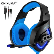ONIKUMA K1-B Gaming Headset Surround Sound Deep Bass Headphones with Mic LED Lights for PS4 Xbox One Computer Mobile Phone