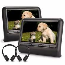 Kürbis 2x Digitalen Bildschirm 10,1 Zoll Auto kopfstütze DVD-Player FM USB SD Multimedia Tragbare Auto Monitore mit 2 IR kopfhörer