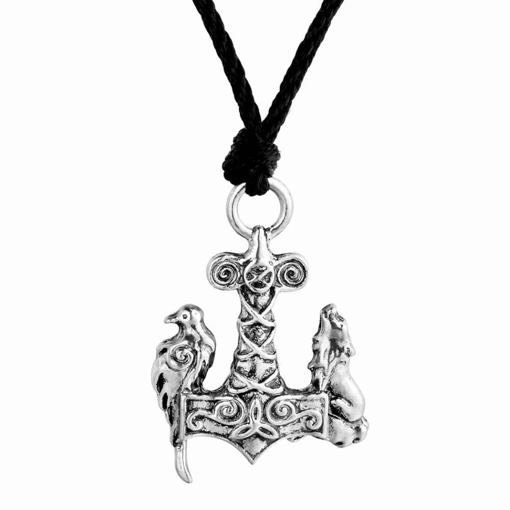 Cxwind Винтаж Норс Odin Викинг-Волк и Ворон Подвески цепочки ожерелья s древних животных товары для птиц Mjolnir талисман узел ювел