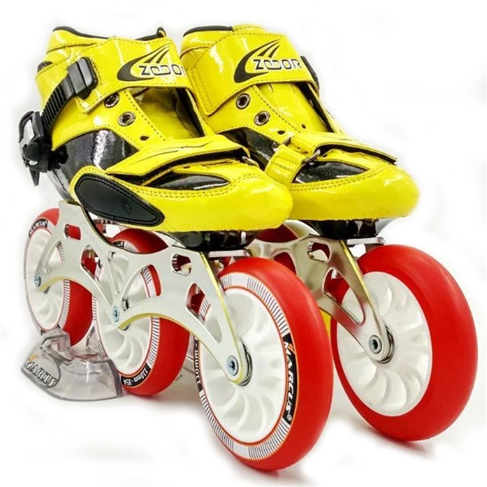 JEERKOOL углеродного волокна и стекловолокна ZODOR Inline Скорость коньки три колеса малыш взрослого уличные гонки Спортивная обувь Обучение Patines SH22