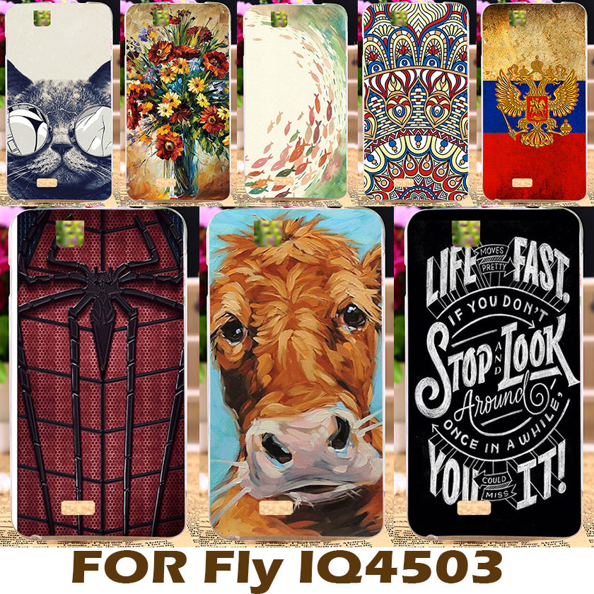 AKABEILA Colorful Painted Soft TPU Cover For Fly IQ4503 Era Life 6 IQ 4503 5.0 inch Case Flexible Shell Protective Sheath