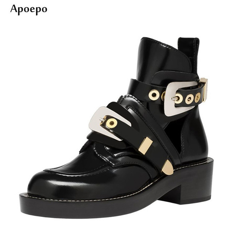Apoepo Newest Riding Boots for Woman Vintage Thick Heels Leather Ankle Boots Round toe Black Motorcycle Leather Boots