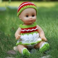 35cm Blink Eyes Soft Vinyl Silicone Reborn Baby Dolls With Green Dress Lifelike Kids Cheap Toys