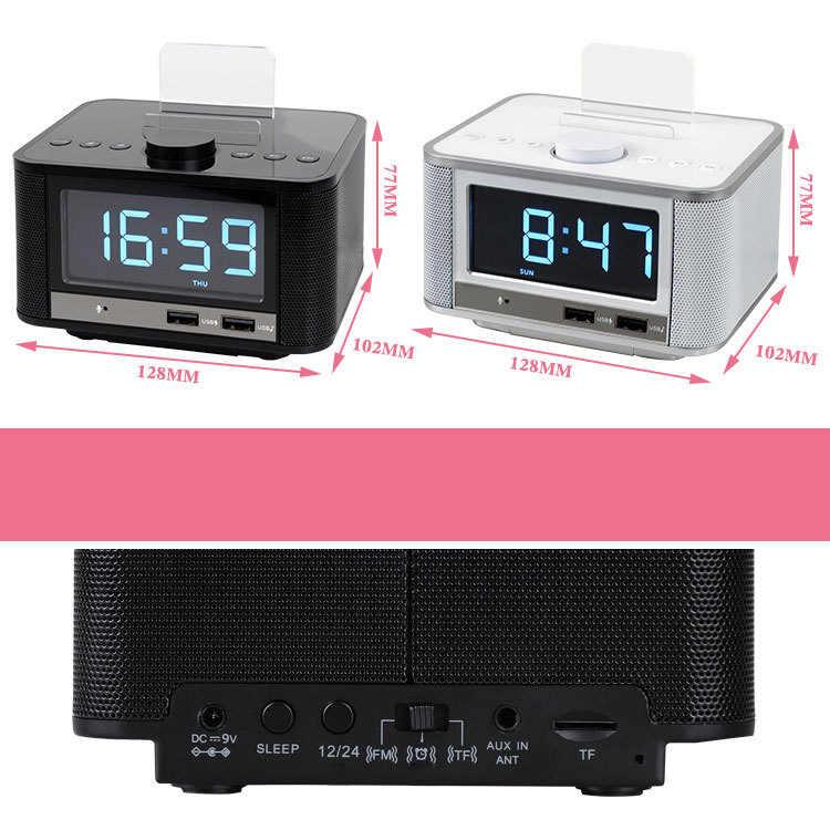 Будильник Радио, беспроводной Bluetooth динамик, цифровой будильник для спальни с fm-радио/Usb порт зарядки/Aux-In и сотового P