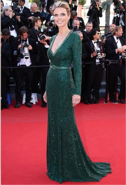f6c2b136297bc Sparkly Hunter Green Mermaid Celebrity Dresses V Neck Long Sleeve ...
