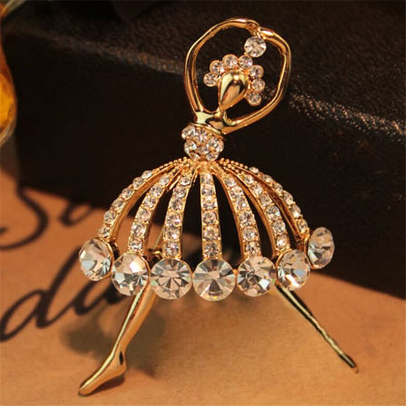 d891809f75f 2018 Hot Fashion Temperament Ballet Girl Cartoon Metal Crystal Collar Pin  Brooches For Women Brooch Pins
